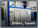 Driers, wind tunnels and cooling tunnels